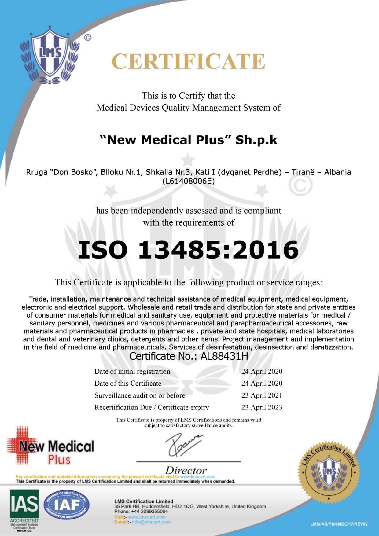 NEW MEDICAL PLUS WEBSITE CERTIFIKATA 7